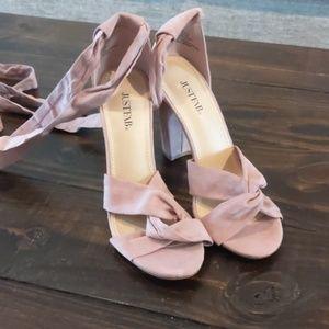 Strap up pink heels